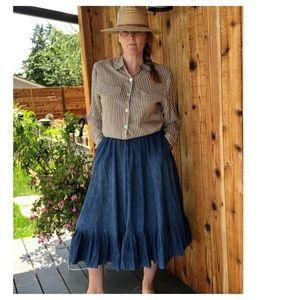 VTG Chambray Denim Full Swing Prairie Skirt Sm